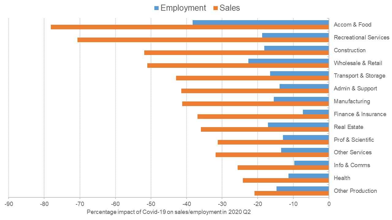 Graph showing the expected impact of Covid-19 on sales and employment for a range of industries