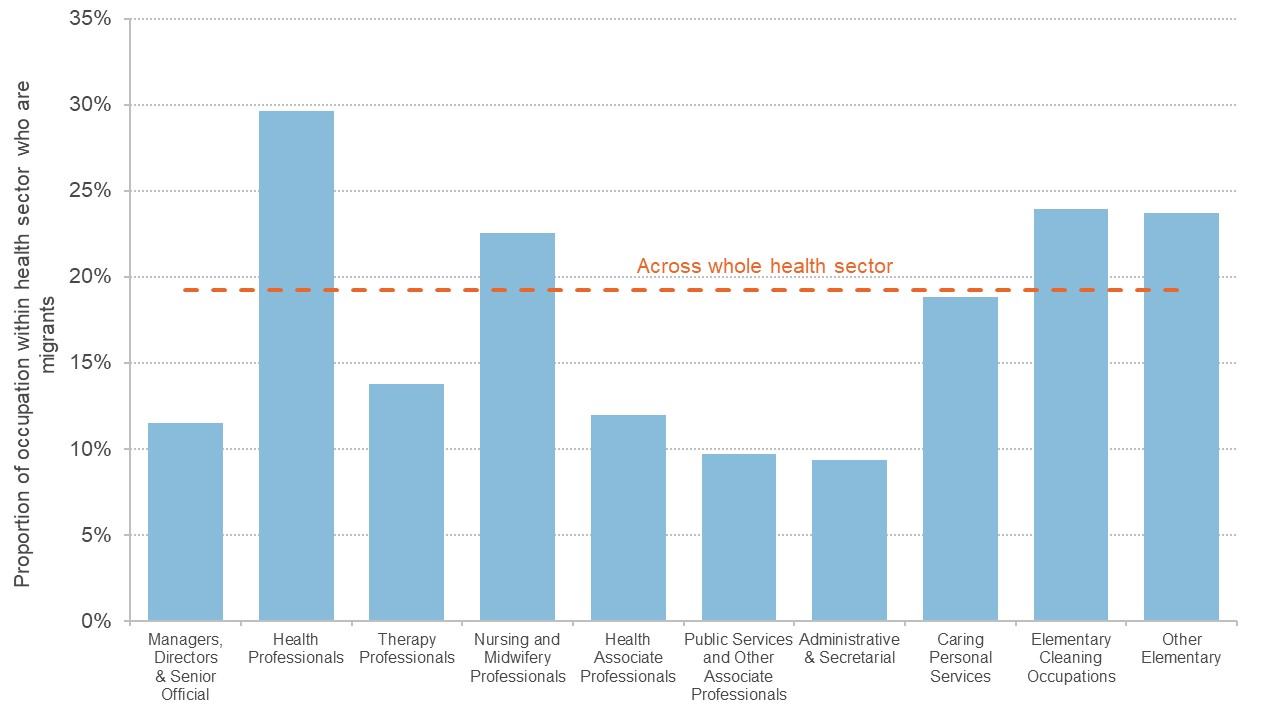 Graph showing the proportion of migrant workers in various occupations within the health sector