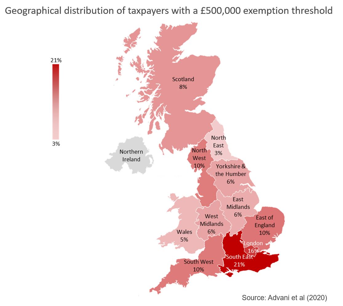 Map showing geographical distribution of taxpayers with a £500,000 exemption threshold