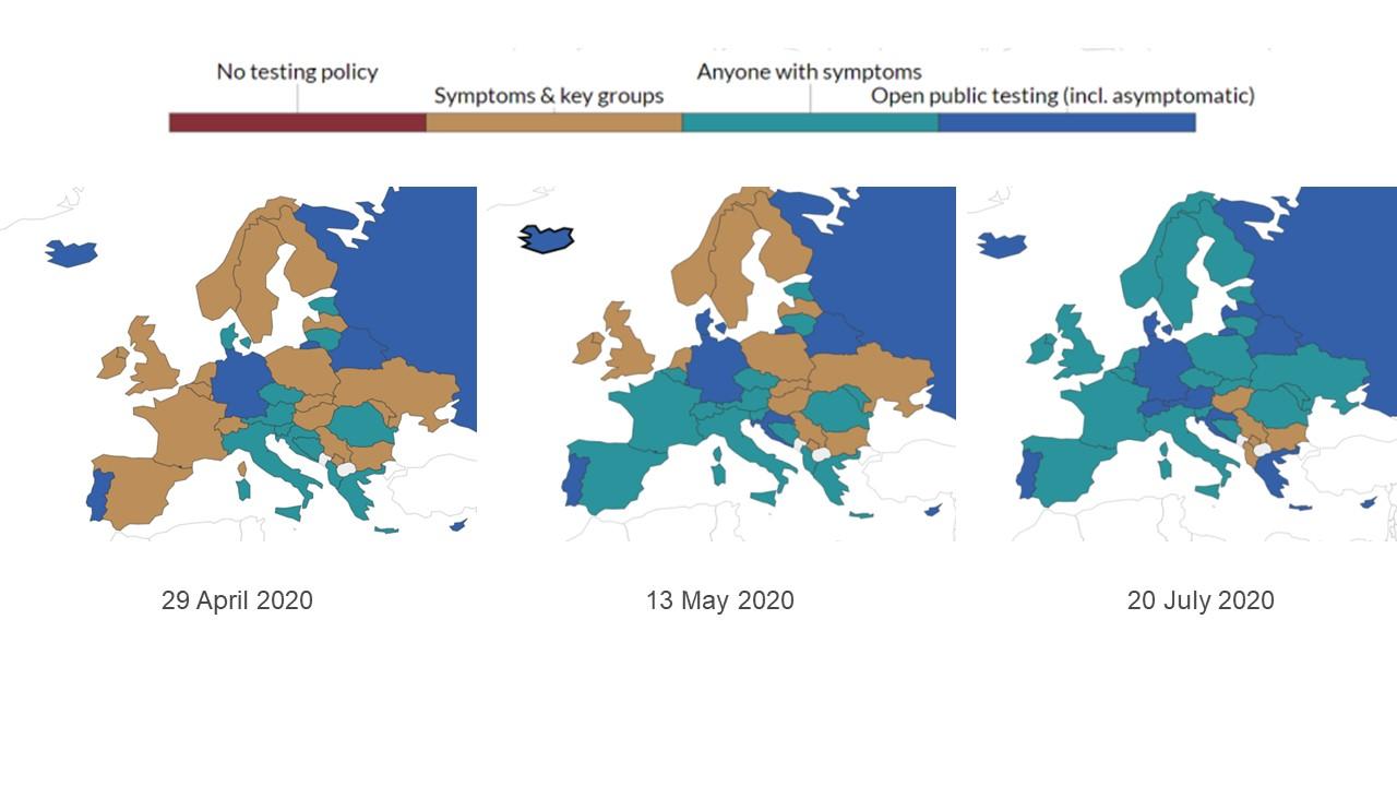 Maps showing testing policies across Europe as coronavirus crisis progressed