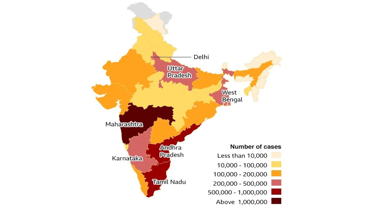 Map showing cases across India