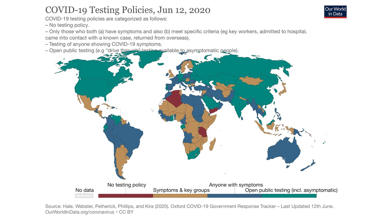 Map showing Covid-19 testing policies around the world