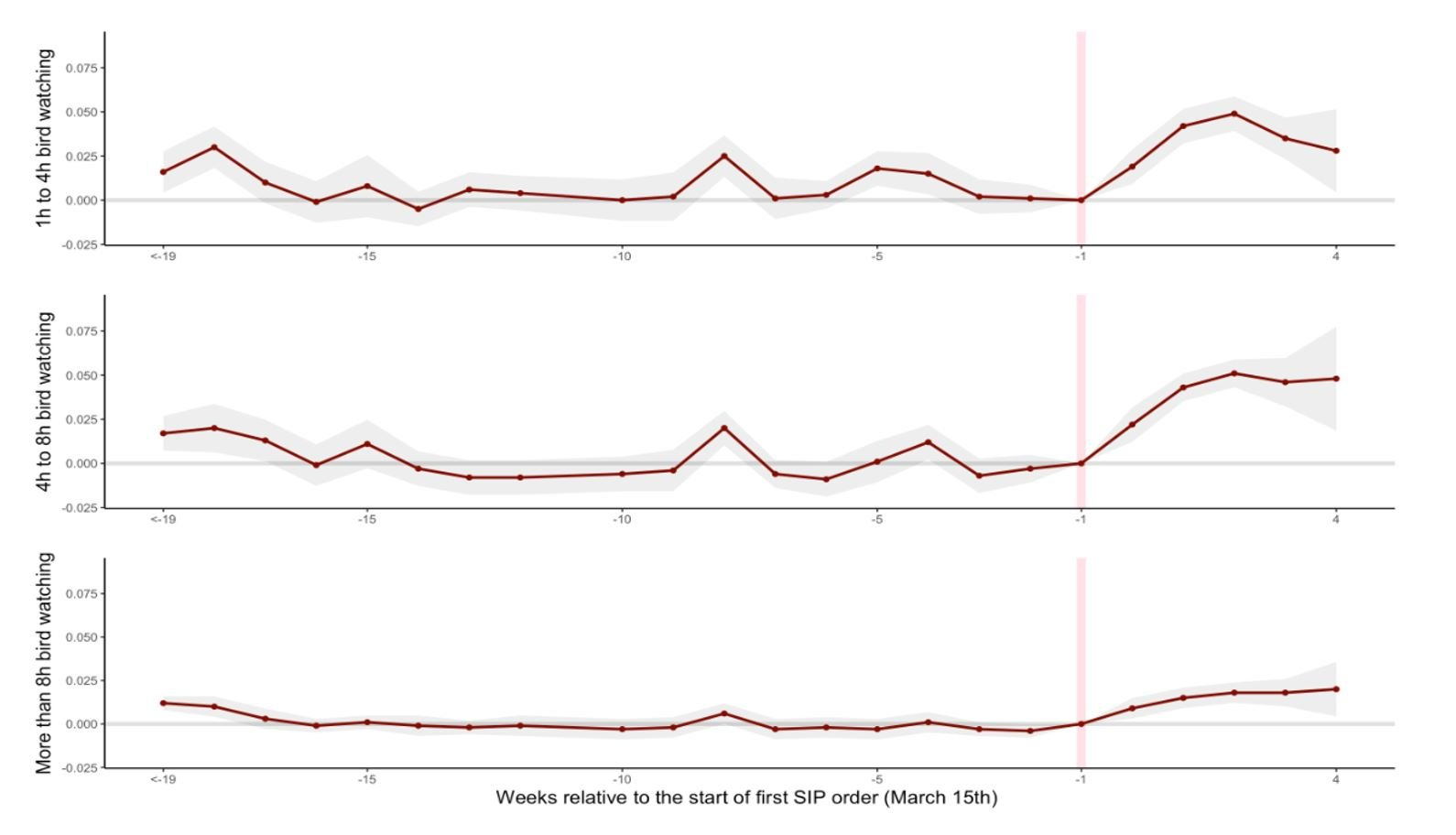 Figure showing trends in time watching birds