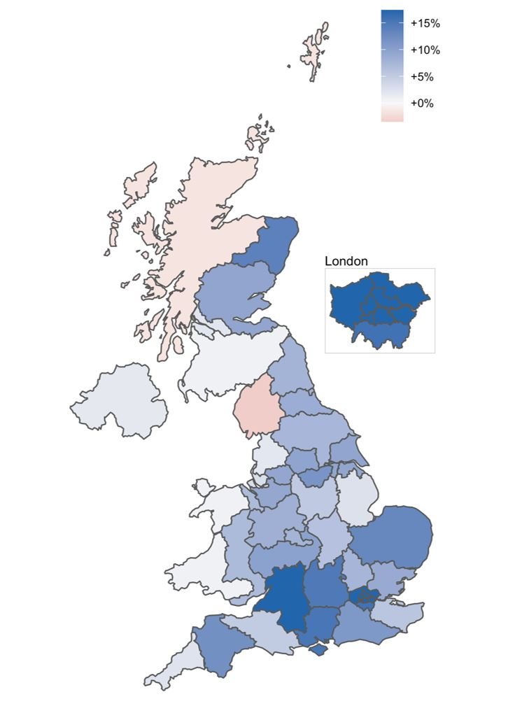 Map showing Figure 1: October 2020 year-on-year growth in overall credit card spending by NUTS 2 area